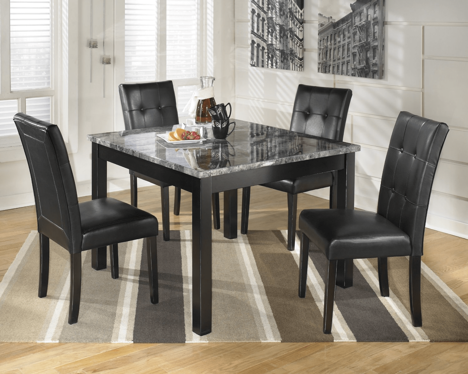 Delicieux Black Faux Marble Top Dining Table