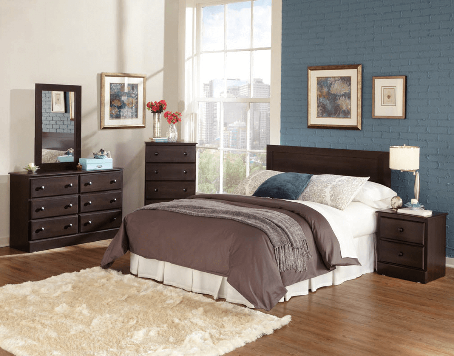 Blue bedroom wall colour schemes for cherry furniture sets