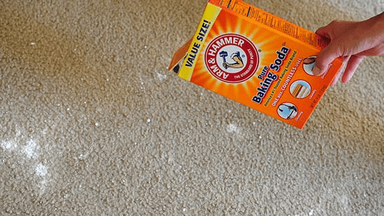 Carpet cleaning with baking soda