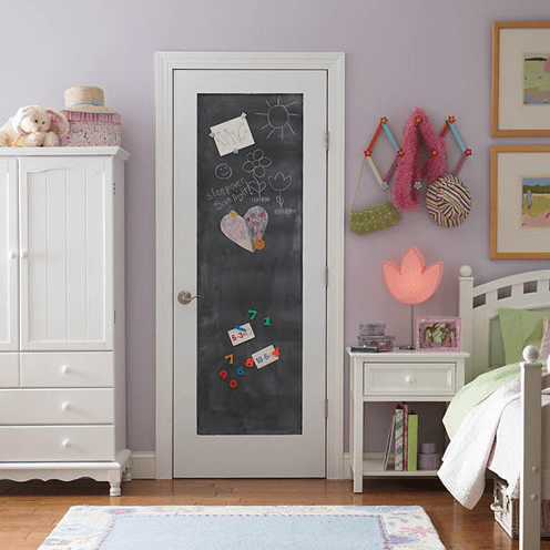 Chalkboard interior door in bedroom