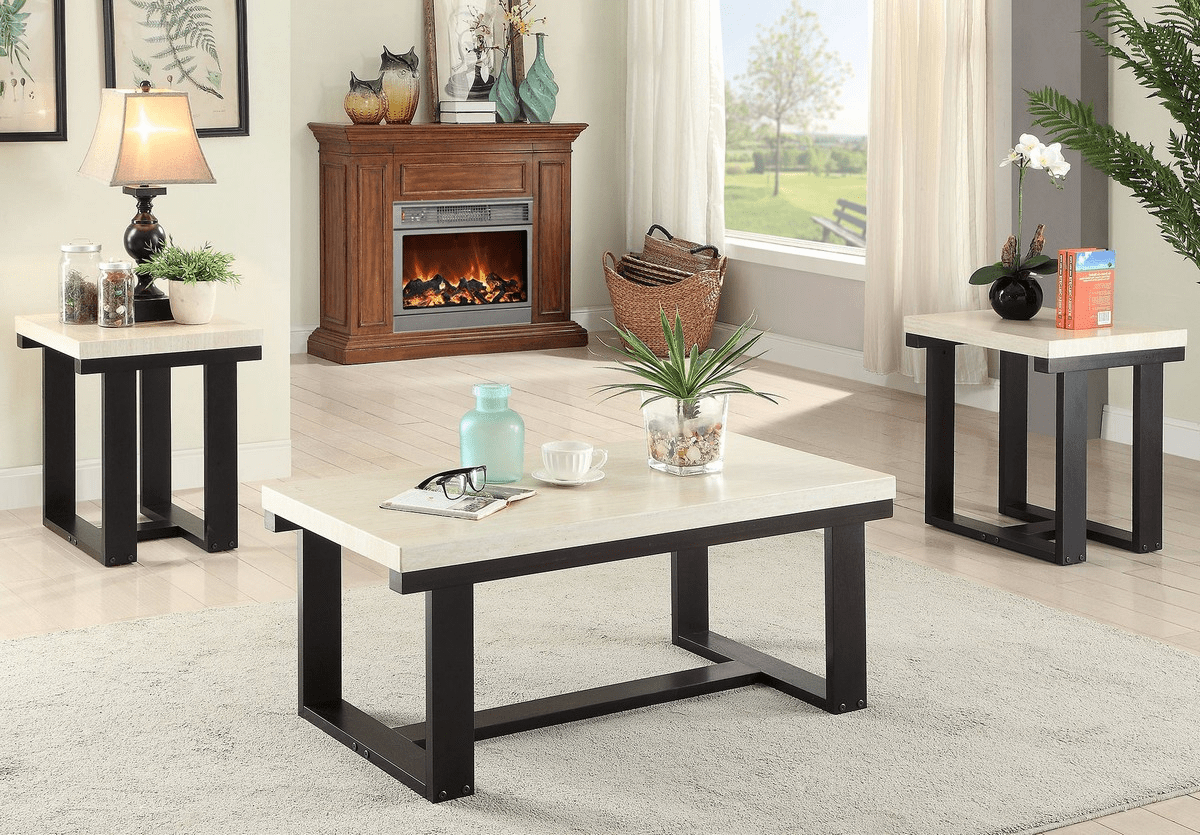 Faux Marble Top Coffee Table Set