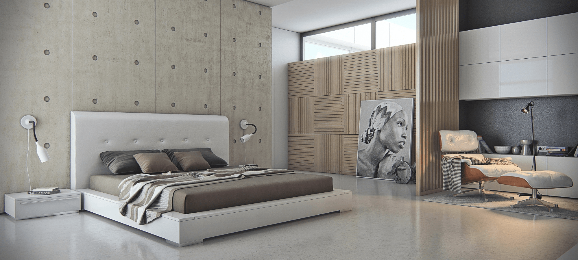 Large concrete wall tiles for bedroom
