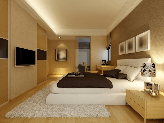 Light brown bedroom walls