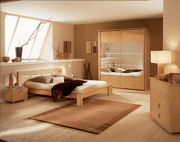 Light colored bedroom furniture beige and brown