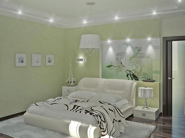 Light green bedroom walls