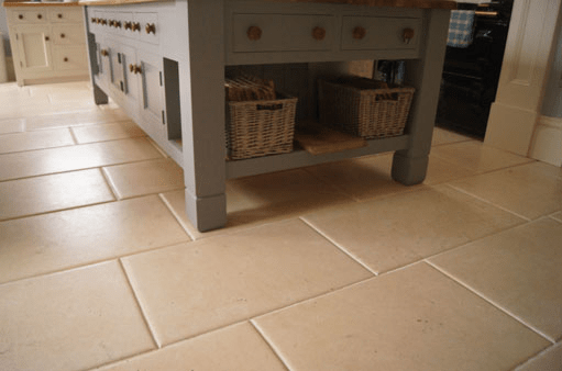 Limestone flooring in kitchen