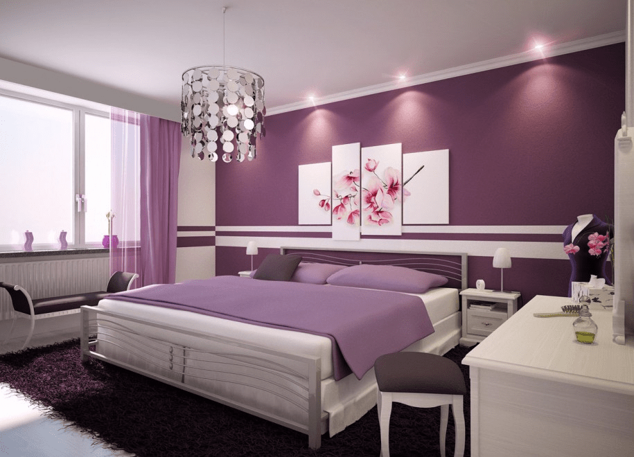 Picture frame ideas for purple bedroom