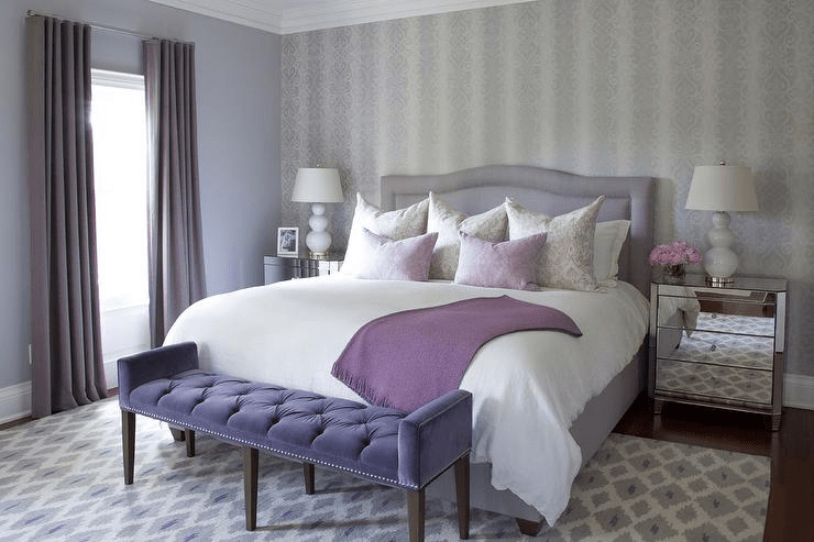 White grey and purple bedroom