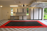Clean garage floor ideas photos with red and brown tile colors