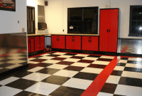 garage floor images black, white, and red tiles