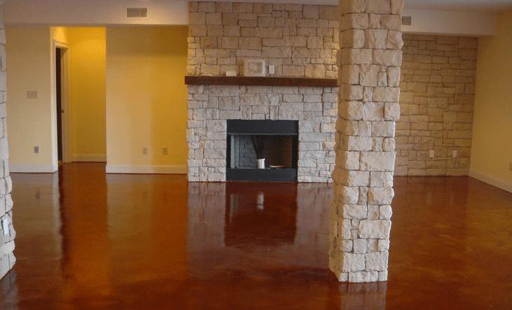 Nice result after washing concrete basement floor