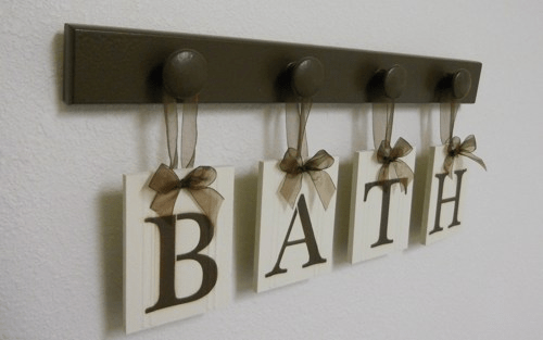 Bathroom wall art ideas decor with letter alphabets
