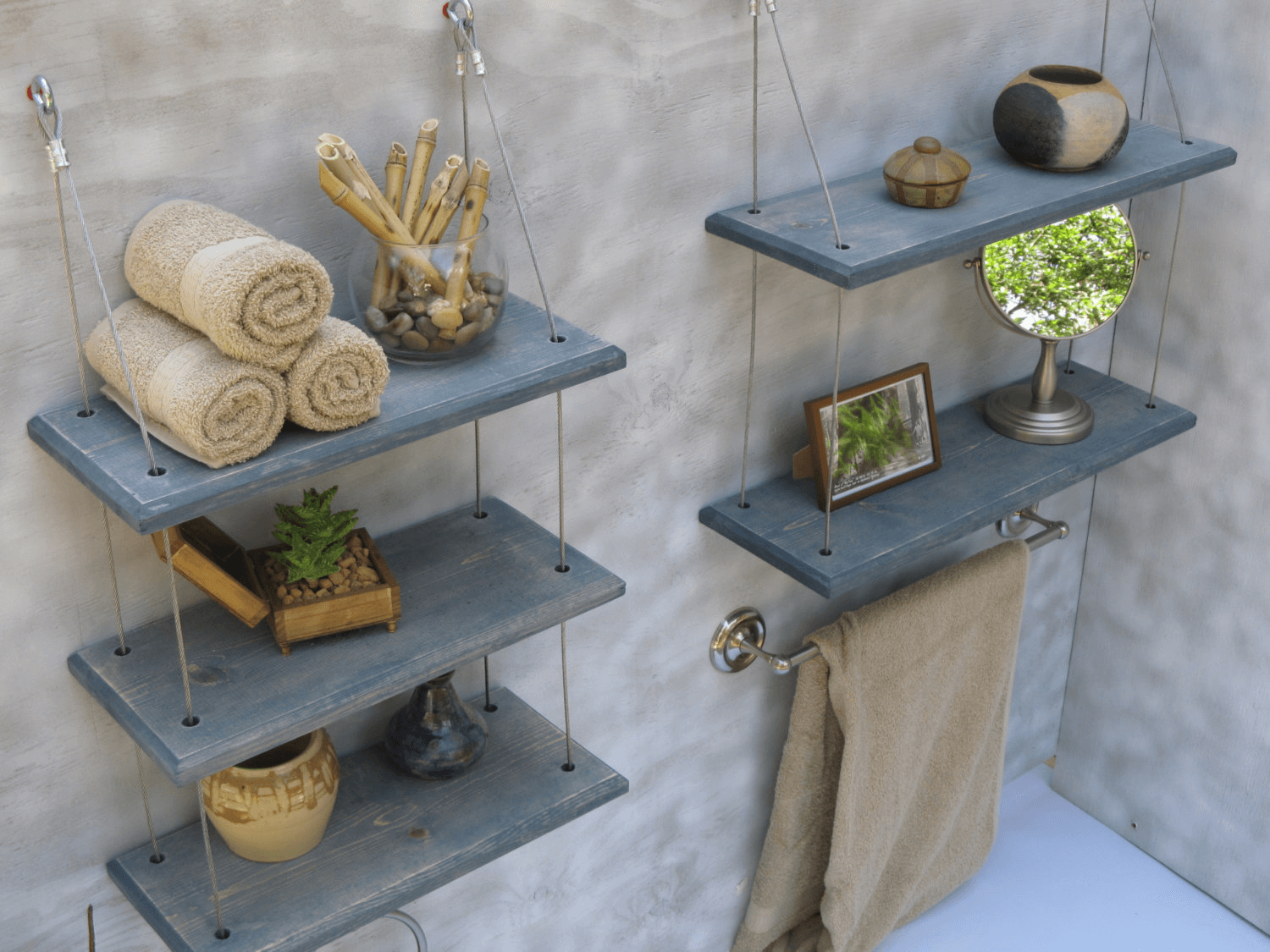 Bathroom wall decor with wood shelves