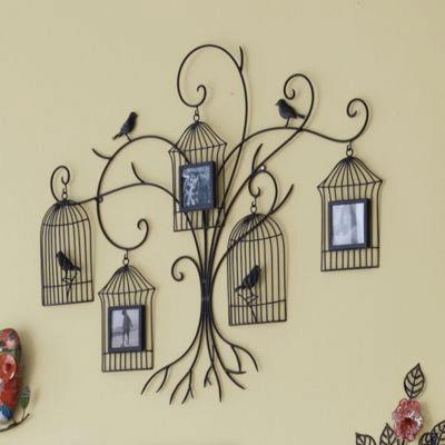 Birdcage wall decor photo holder