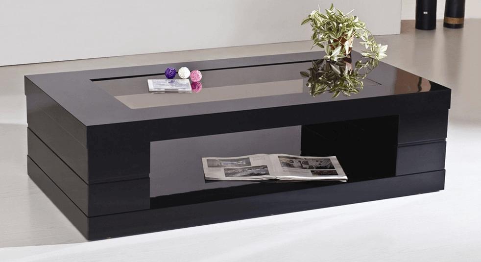 Black glass rectangular coffee table