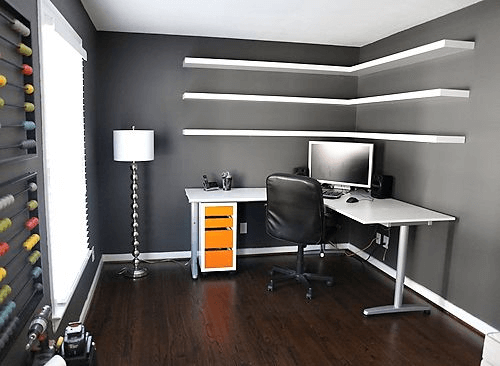 Black and white rood design ideas using corner shelves desk