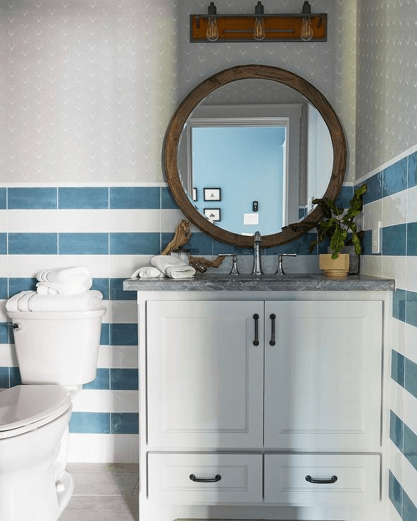 Blue white stripes wall small powder bathroom decor ideas
