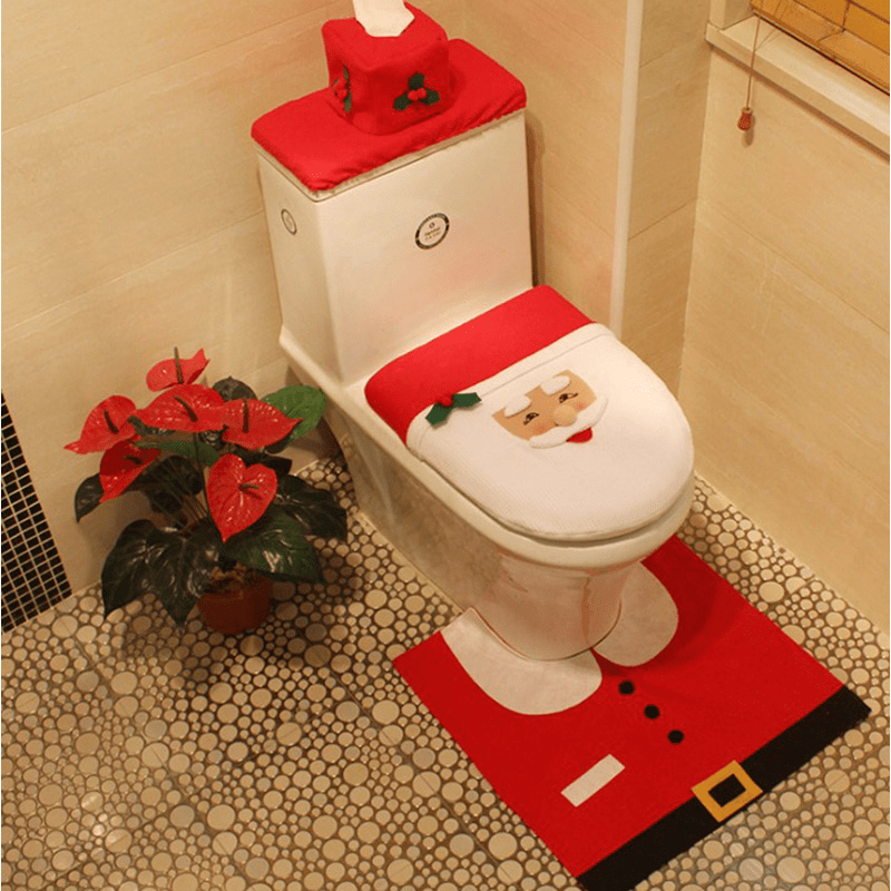 Christmas toilet seat cover and mat