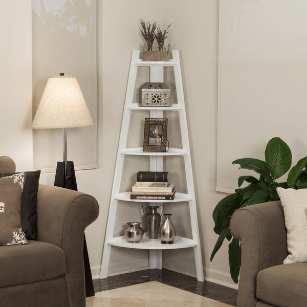 Corner ladder shelf white