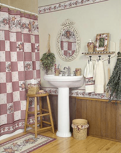 Country hearts and stars bathroom decor