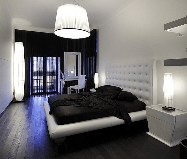 Dark hardwood floors in bedroom