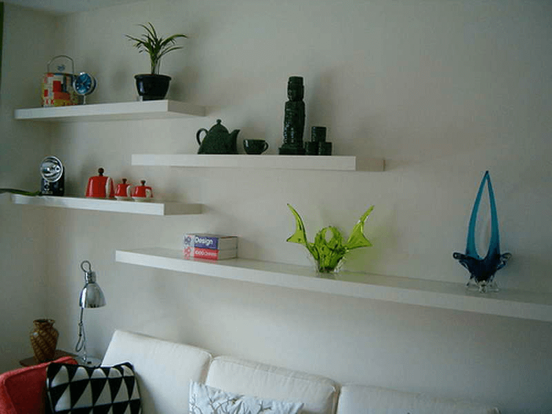 Floating shelves family room
