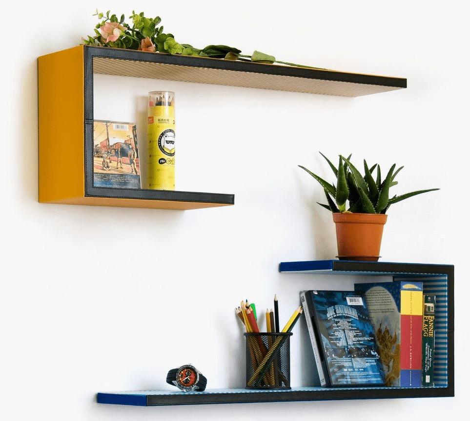 Floating shelves living room with flower pot