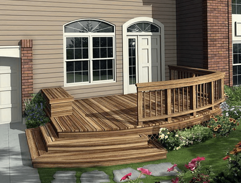 House front design ideas wood front deck designs front for Front porch patio ideas