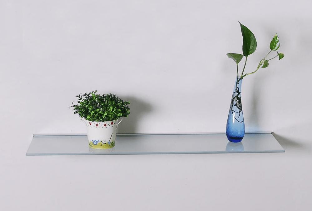 Glass wall shelves for living room