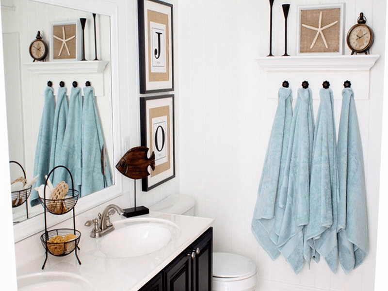 Hanging towels in bathroom ideas