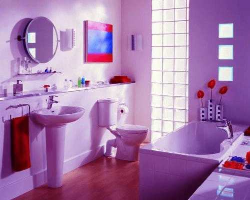 How to decorate a purple bathroom