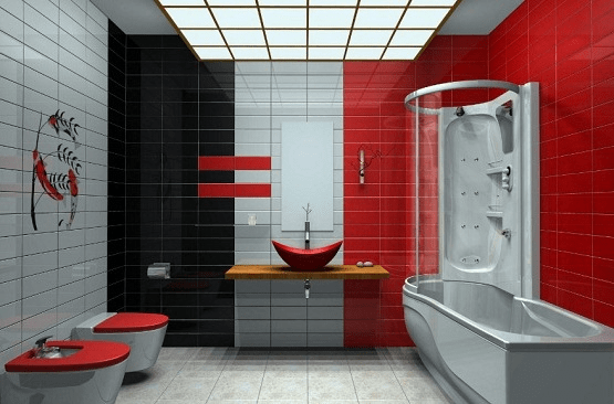 How to decorate a red bathroom