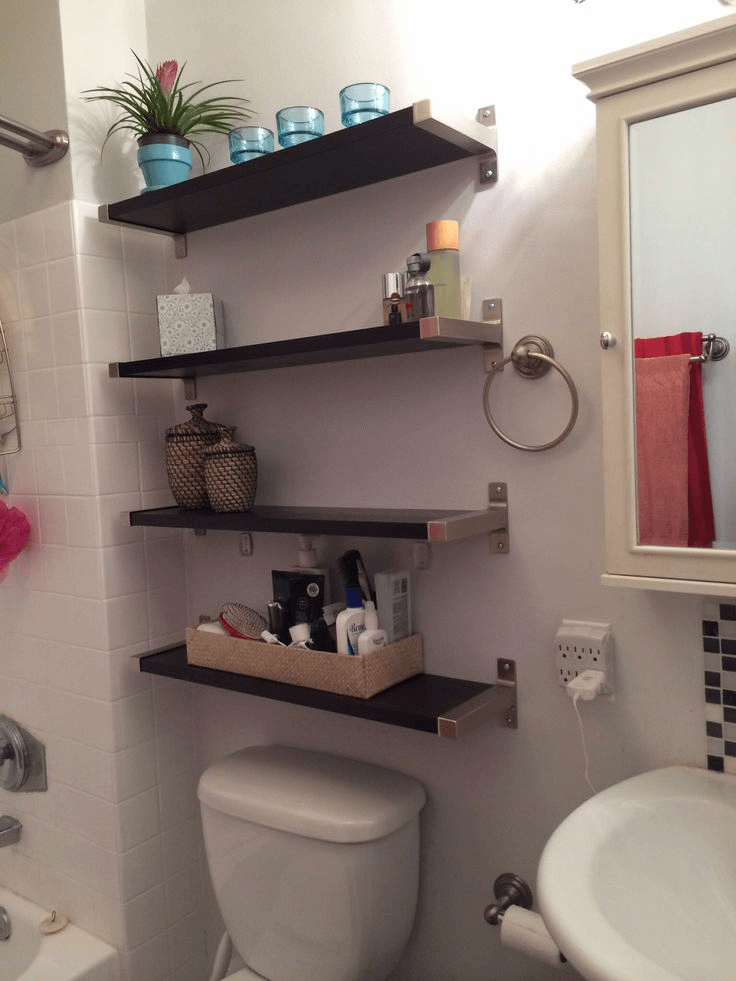 How To Decorate Over The Toilet Shelves With Thrift Shop Items