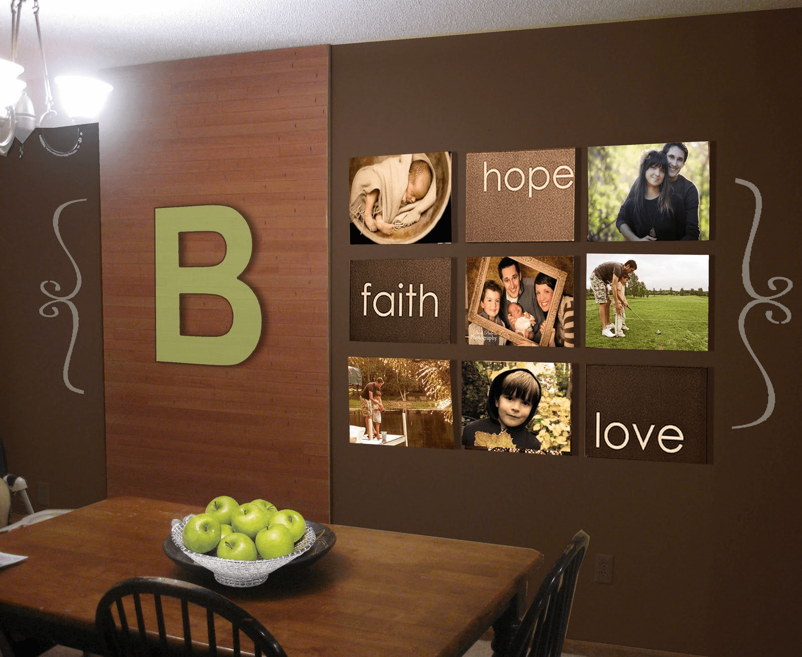 Ideas for decorating a wall with family pictures