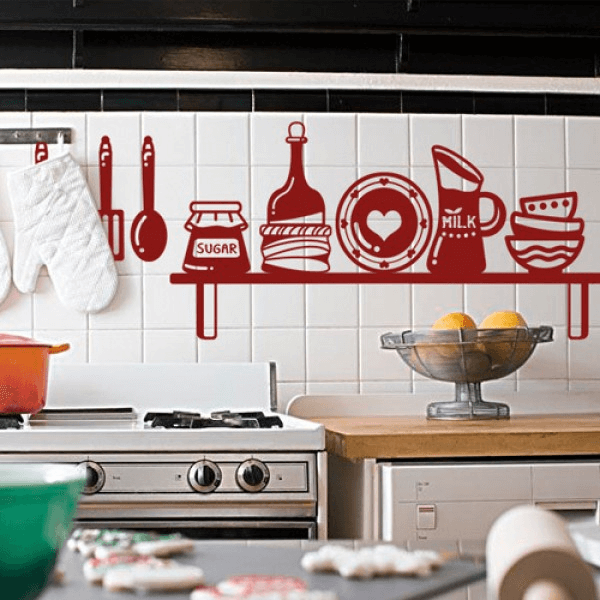 Kitchen wall tile stickers as decoration