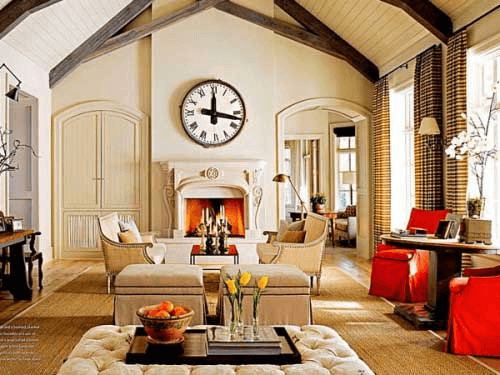 Large wall in Living room decor ideas with clock