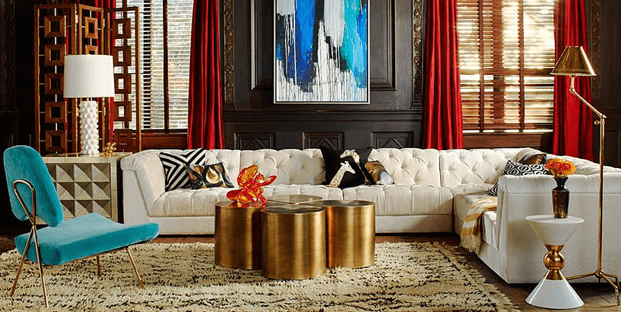 Living room coffee table decorating ideas using gold and contrastive color