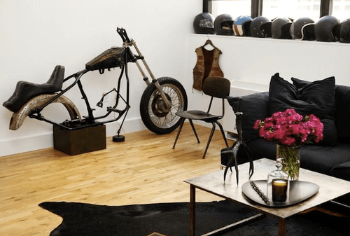 Living room decor ideas with old classic motorcycle