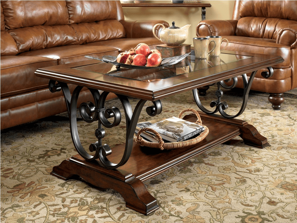 Rectangular coffee table with glass top