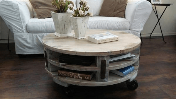 Round coffee table with book storage