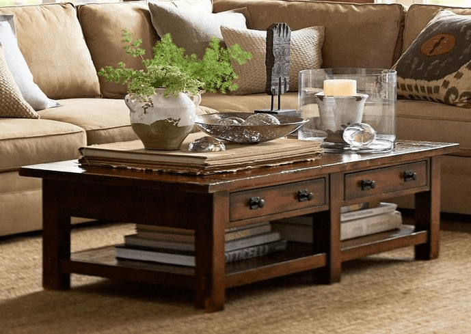 Rustic coffee table decor