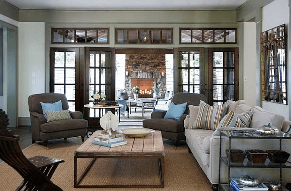 Rustic living room coffee table with gray sofa and wooden table