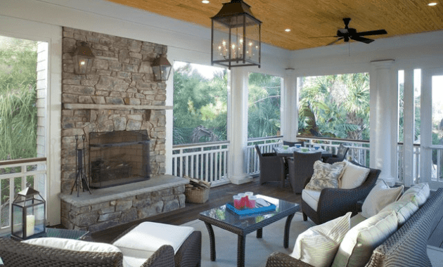 Screen porch designs with fireplace