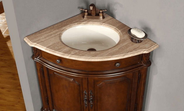 Small corner bathroom sink base cabinet