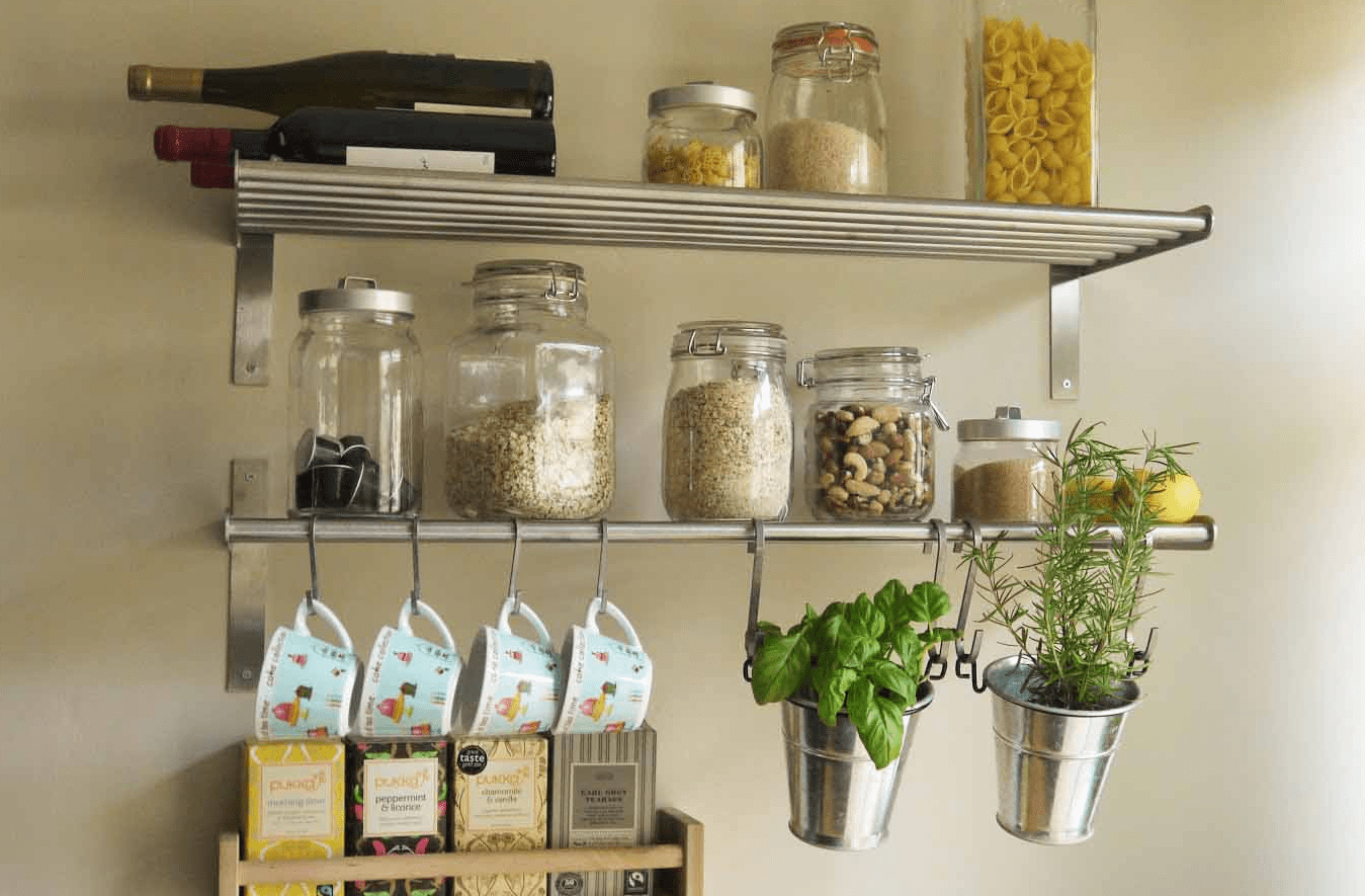 Small kitchen wall shelves