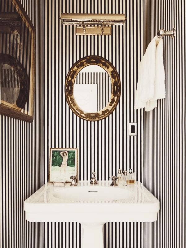 Vertical line powder bathroom decor ideas