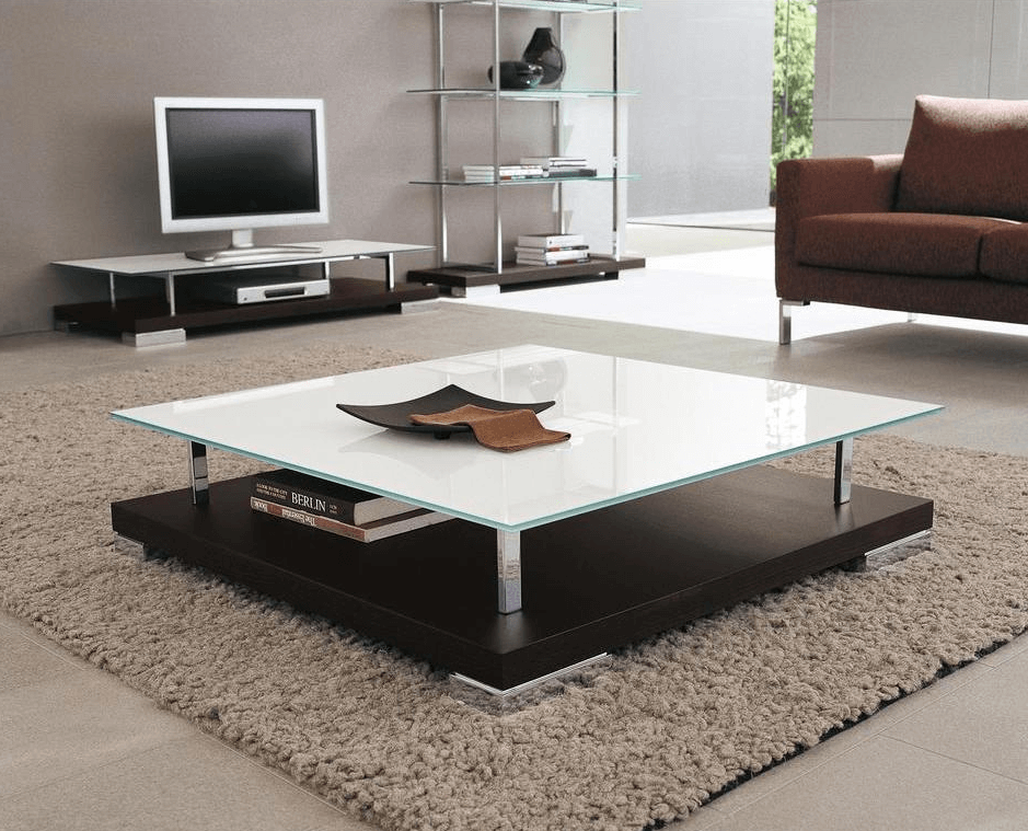 White Large square coffee table decoration ideas