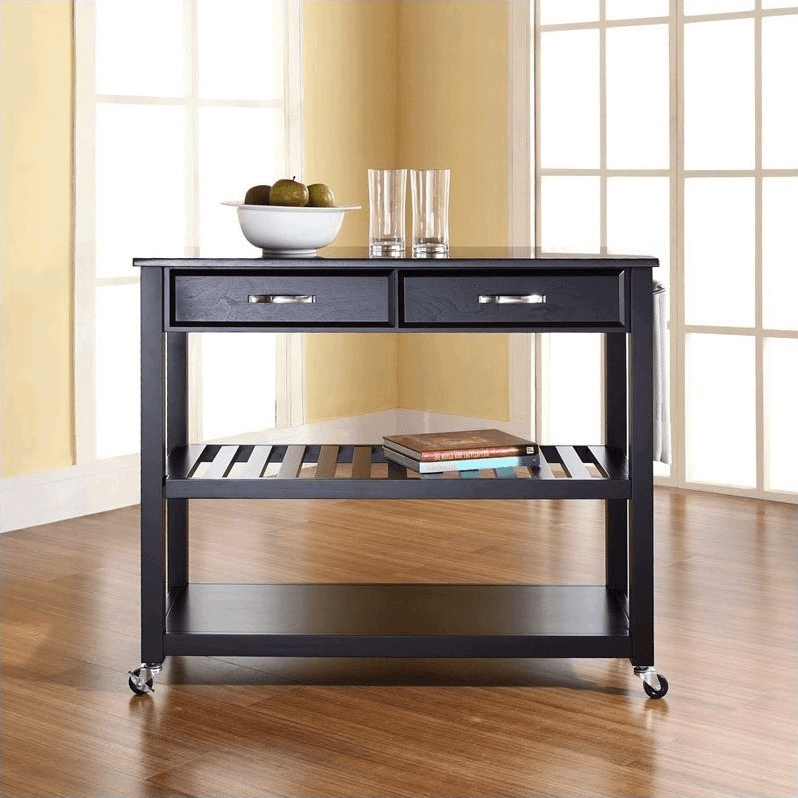 Black kitchen island cart with granite top