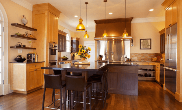 Brown L Shaped Kitchen Island Breakfast Bar Design