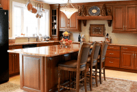 Brown wooden Kitchen Island Table with Chairs
